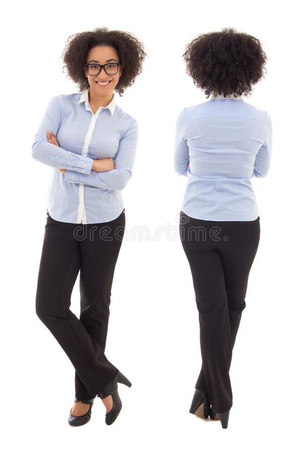 Ideia dianteira e traseira do iso afro-americano feliz da mulher de negócio imagem de stock royalty free