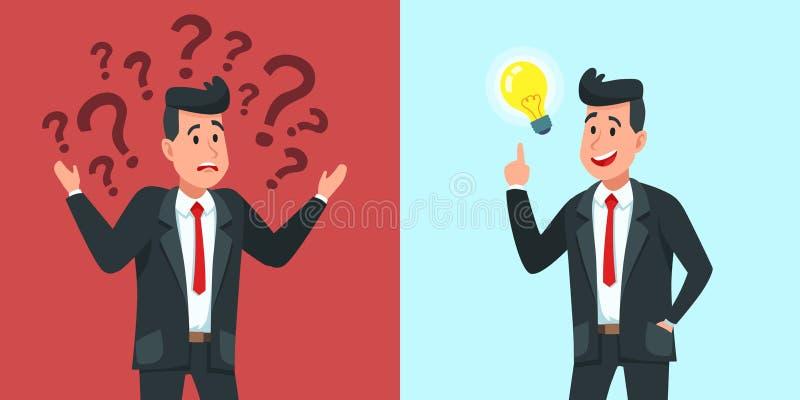 Ideia do achado do homem de negócios O trabalhador confundido do negócio quer saber e encontra a solução ou a ilustração resolvid ilustração stock