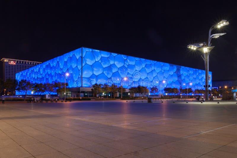 Ideia do centro aquático nacional, cubo da noite da água, do Pequim fotos de stock