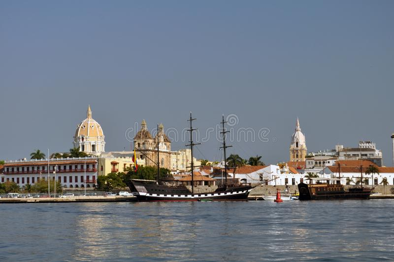 Ideia do centro histórico de Cartagena, Colômbia foto de stock royalty free
