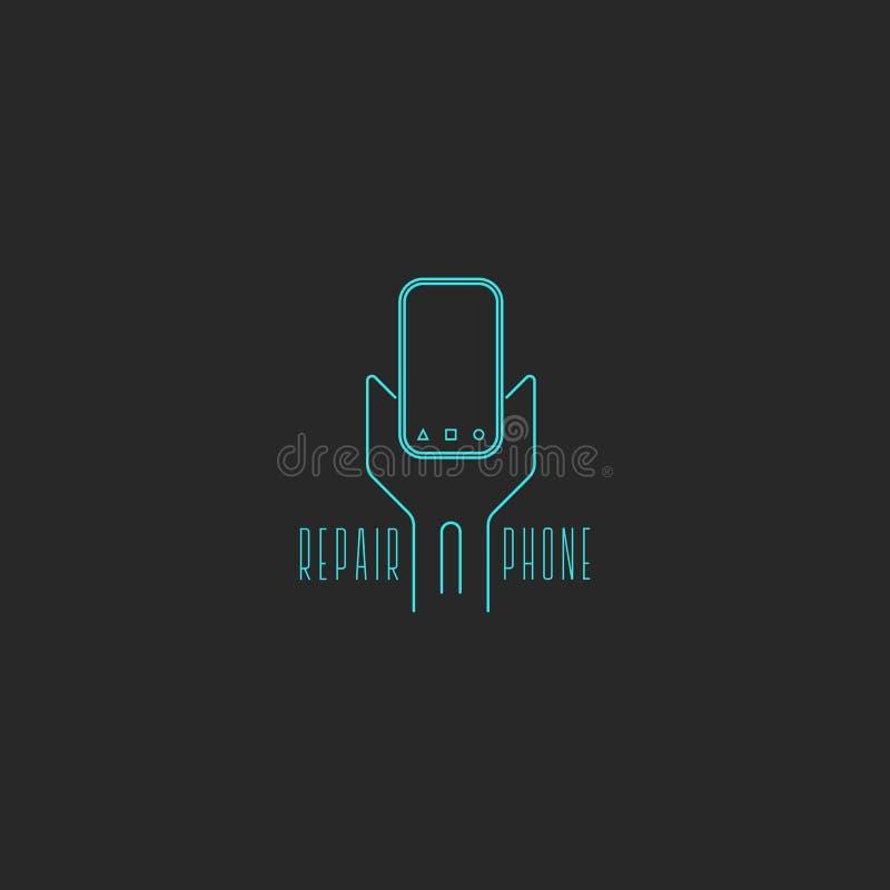 Ideia do conceito da ferramenta da chave inglesa do logotipo do reparo do telefone Linhas finas azuis estilo do celular e da chav ilustração do vetor
