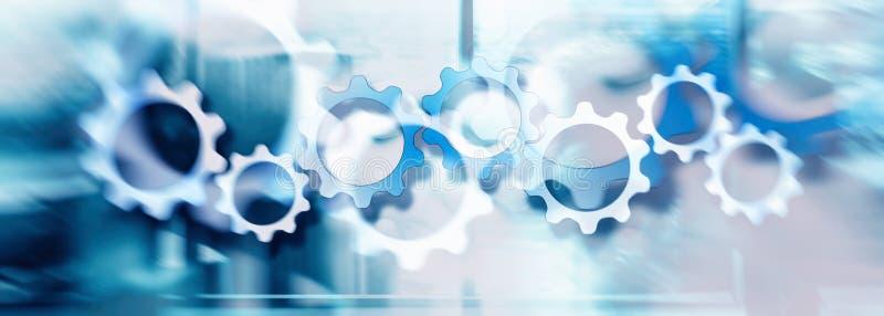 Ideia do conceito de ajustar uma relação da tecnologia com a roda de engrenagem no fundo da exposição dobro ilustração do vetor