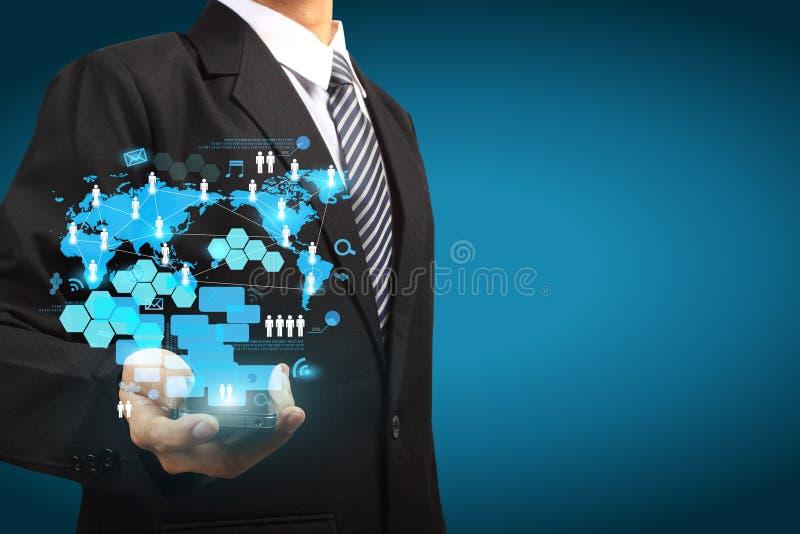 Ideia do conceito do negócio da tecnologia do telemóvel do ecrã táctil