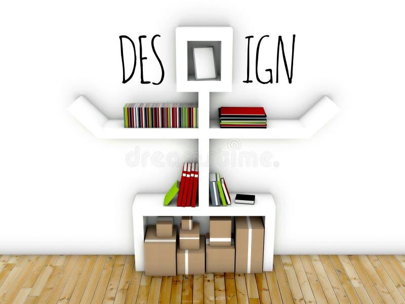 Ideia do design de interiores do espaço de trabalho ilustração royalty free