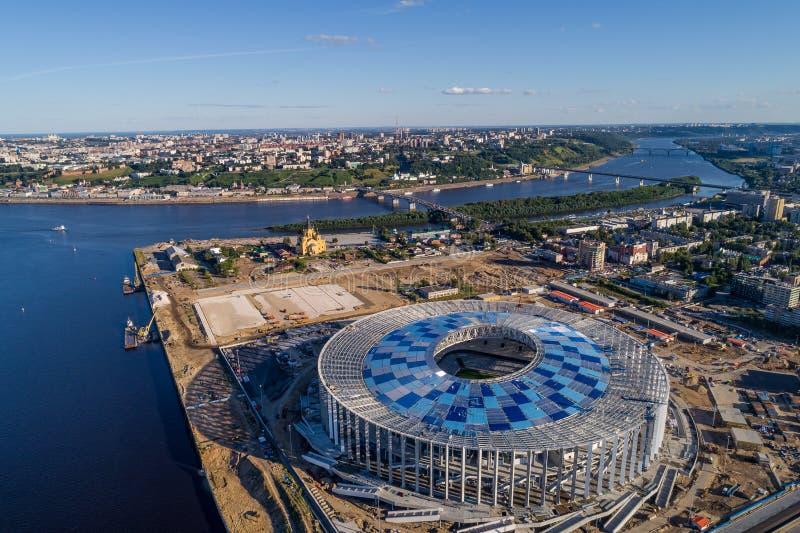 Ideia do estádio de Nizhny Novogorod, construindo para o campeonato do mundo 2018 de FIFA em Rússia imagem de stock royalty free