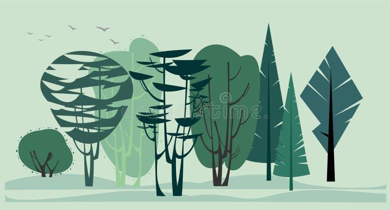 Ideia do fundo da borda da floresta do verão ilustração royalty free