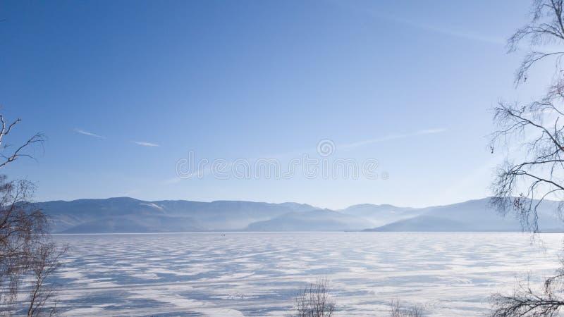 Ideia do inverno o Lago Baikal: a superfície do lago no gelo, no outro lado da montanha, nas árvores do primeiro plano imagem de stock royalty free