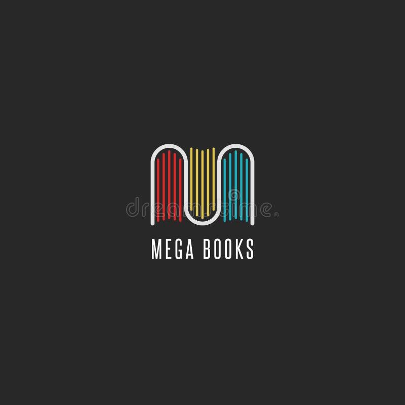 Ideia do logotipo da livraria, logotype colorido dos livros sob a forma da letra M, modelo do emblema para editores, bibliotecas  ilustração stock