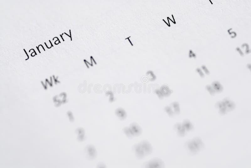 Ideia do mês de janeiro no diário. foto de stock royalty free