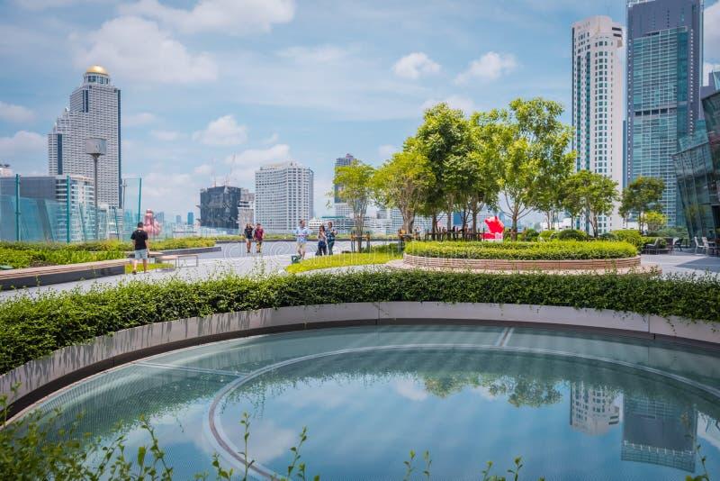 A ideia do parque do ÍCONE SIÃO, é o shopping e o marco novos de Banguecoque, Tailândia fotografia de stock