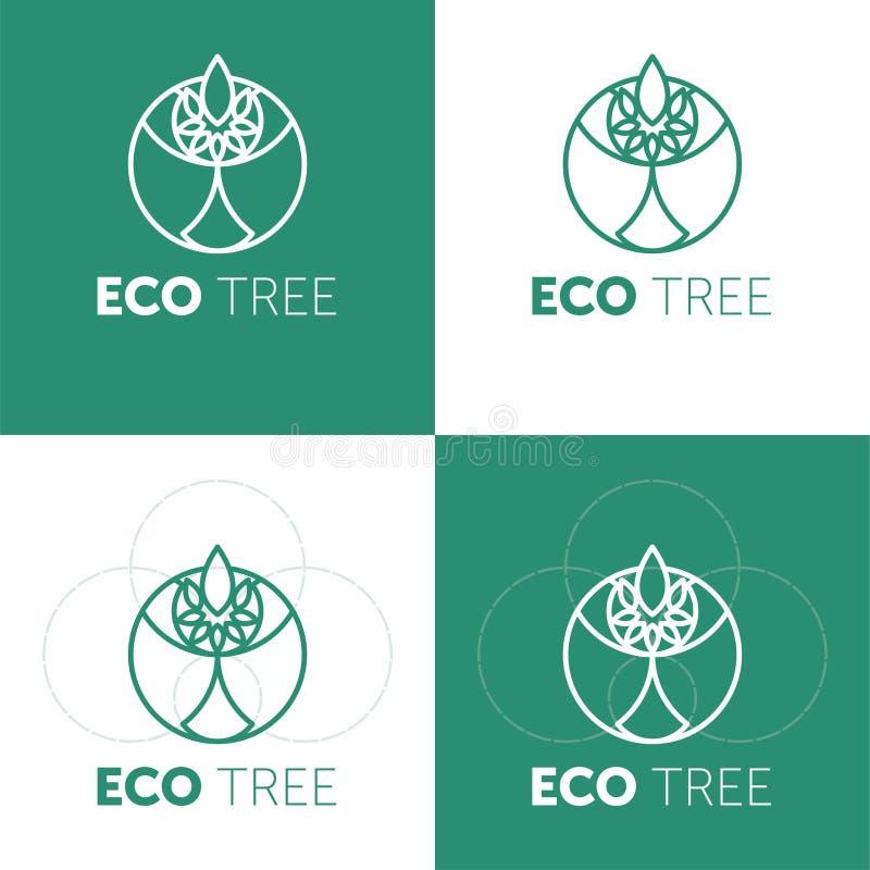 Ideia do projeto do logotipo da exploração agrícola de Eco Bom alimento para o conceito criativo do s?mbolo dos bons povos ilustração stock