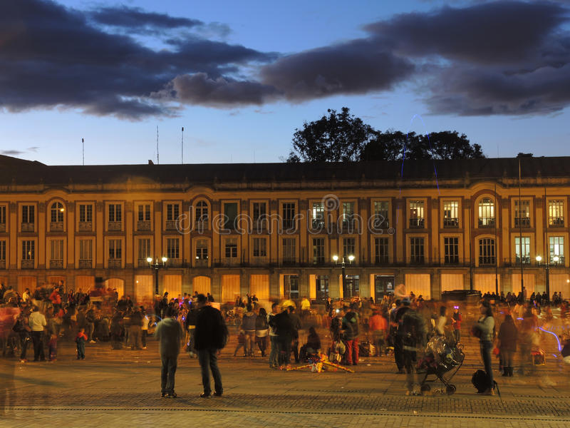 Ideia do quadrado de Bolivar em Bogotá, Colômbia fotografia de stock royalty free