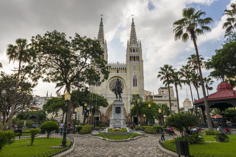 Ideia do quadrado de Parque Bolivar Bolivar na cidade de Guayaquil em Equador imagem de stock royalty free