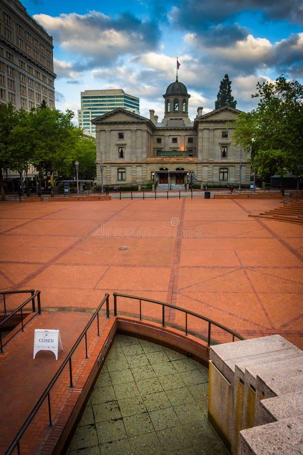 Ideia do quadrado pioneiro do tribunal, em Portland, fotografia de stock royalty free