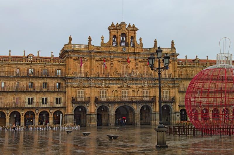 Ideia do quadrado principal Prefeito antigo da plaza O quadrado é fornecido ao estilo de barroco espanhol fotos de stock