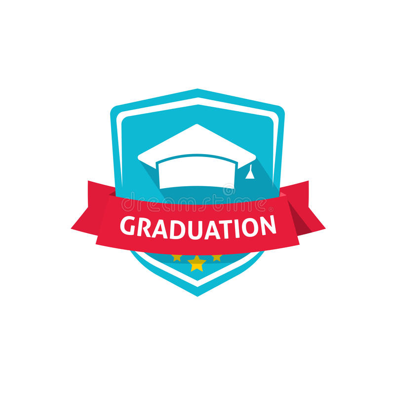 Ideia do símbolo da crista da ilustração, da escola ou da universidade do vetor do emblema da graduação ilustração royalty free