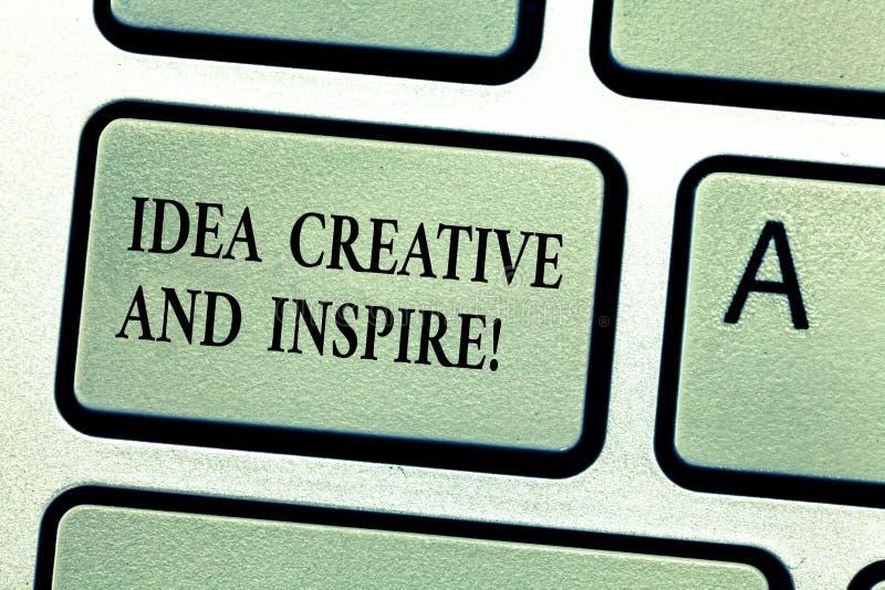 Ideia do texto da escrita criativa e para inspirar Conceito que significa a motivação da faculdade criadora da inspiração para o  imagens de stock royalty free