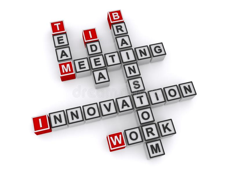 Ideia do time de reunião de inovação brainstorm trabalho palavra palavra palavra fotografia de stock royalty free