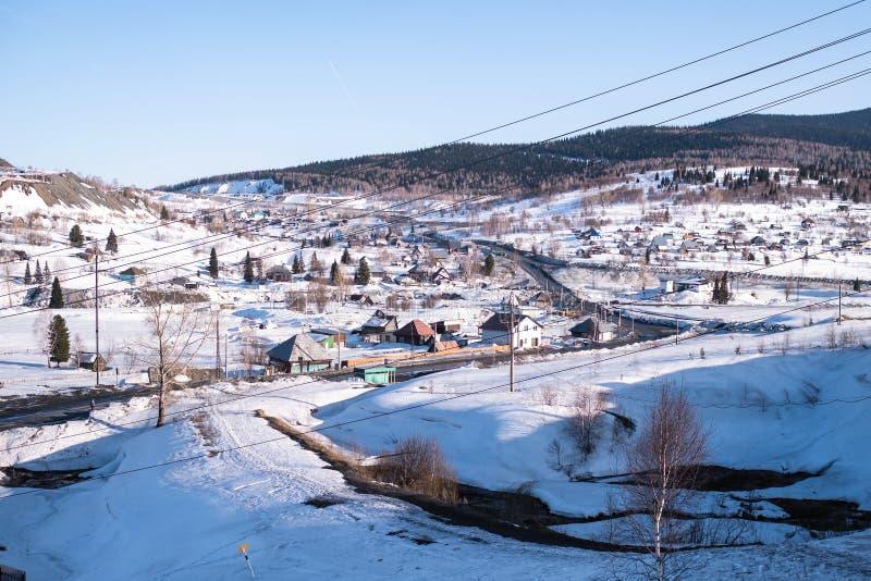 Ideia do urbano-tipo pagamento de Sheregesh em Sibéria fotos de stock