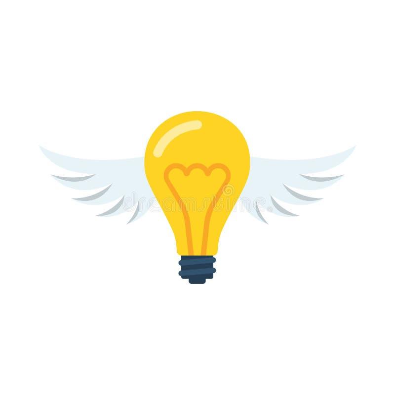 Ideia do voo Ampola criativa com asas ilustração royalty free