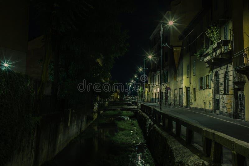 Ideia dos canais de água vazios de Navigli em Milão na noite - 1 imagens de stock