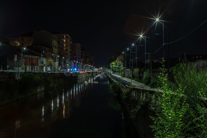 Ideia dos canais de água vazios de Navigli em Milão na noite - 1 foto de stock royalty free