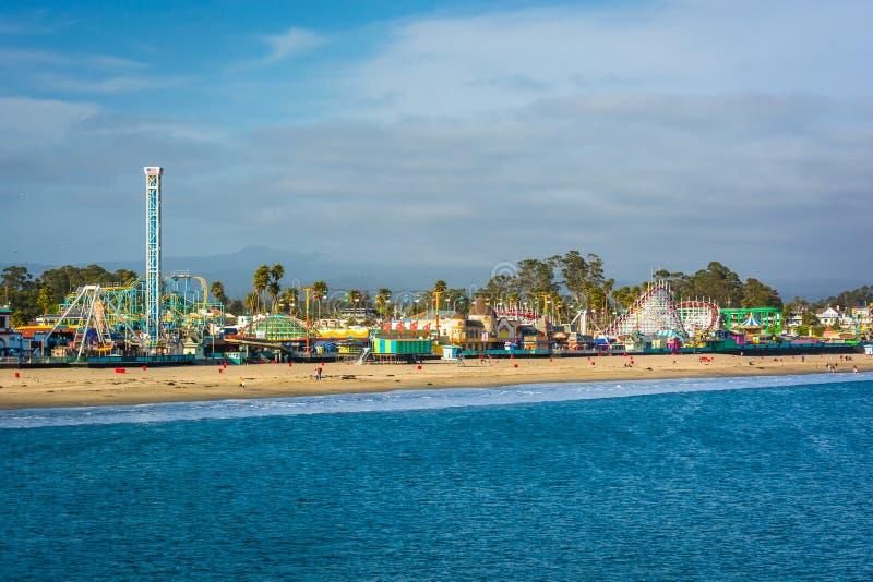 Ideia dos passeios em Santa Cruz Boardwalk imagem de stock royalty free