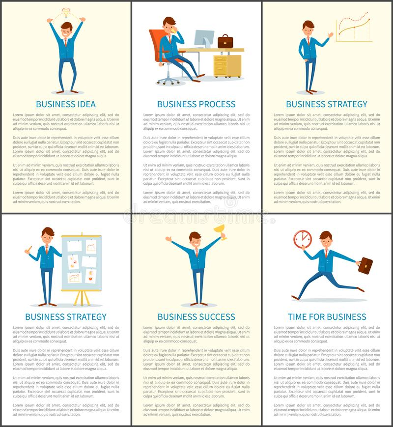 A ideia e o processo do negócio, dirigem Working no escritório ilustração stock