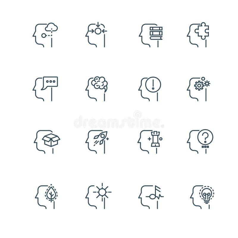 A ideia, a estratégia empresarial e a gestão alinham ícones finos do vetor ilustração do vetor
