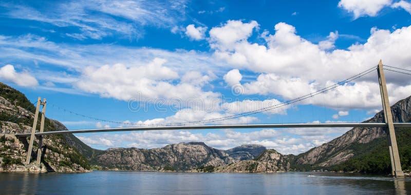 Ideia fantástica da paisagem da natureza do fiorde, das montanhas e do brid fotos de stock