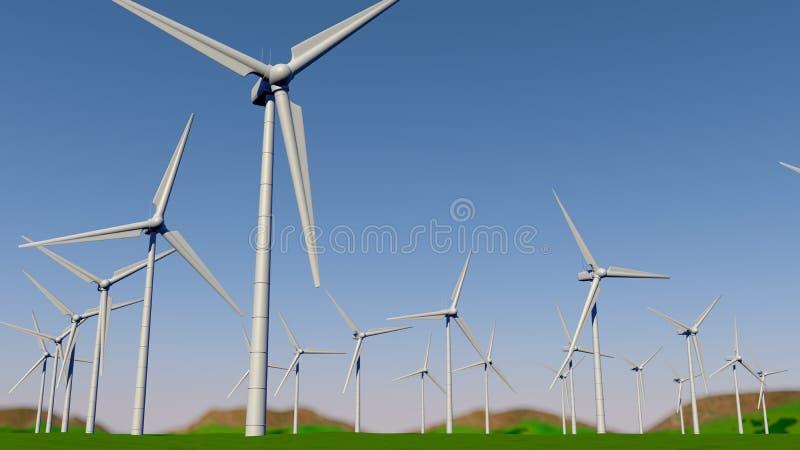 Ideia inferior de um grupo de turbinas que formam uma explora??o agr?cola de vento em um campo verde durante o dia com o c?u azul ilustração royalty free