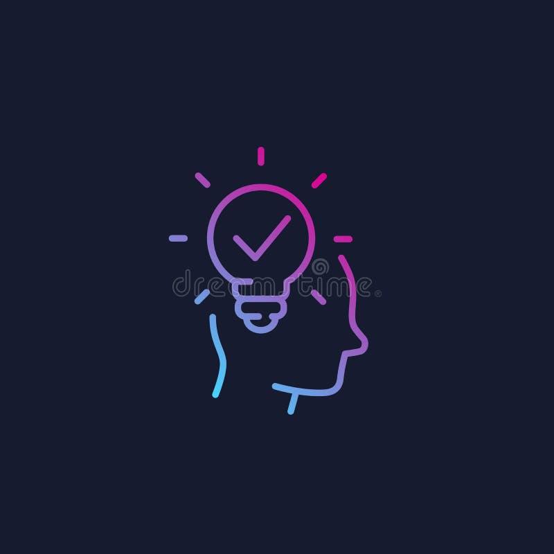 Ideia, introspecção, ícone linear do pensamento criativo ilustração stock