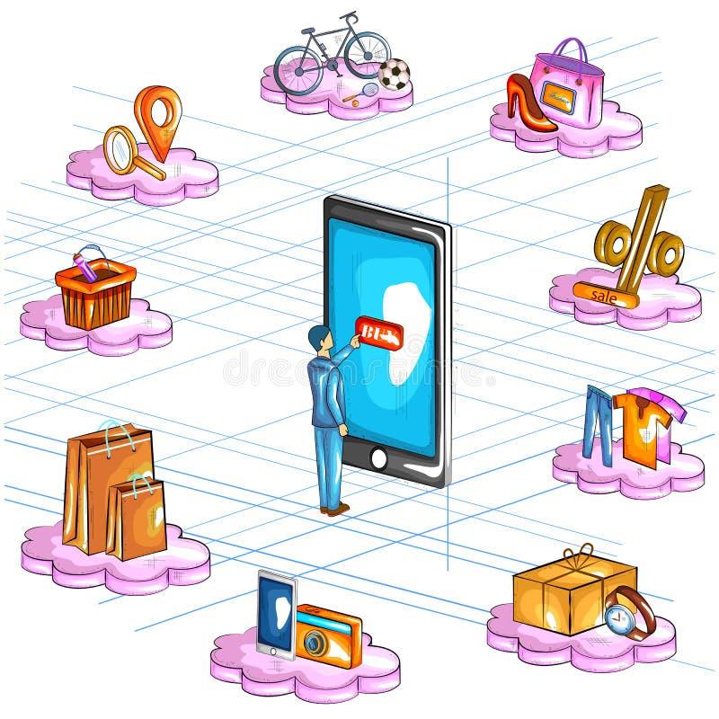 Ideia isométrica lisa do estilo 3D da relação em linha da aplicação da compra do comércio eletrónico ilustração do vetor
