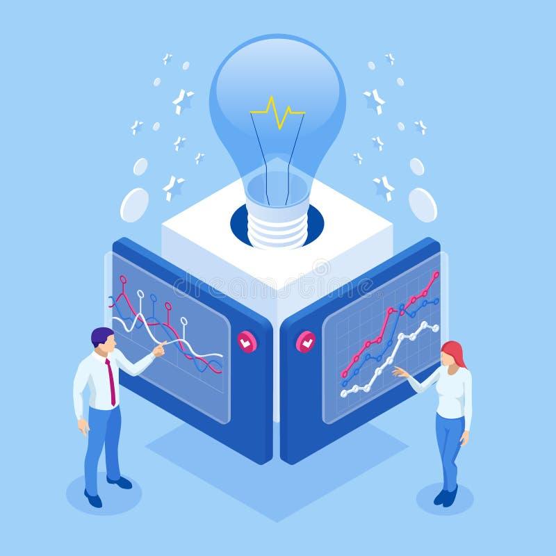 Ideia isométrica, reunião de negócios e brainstorming, equipe inicial de uma reunião e trabalho em equipe criativo ilustração stock