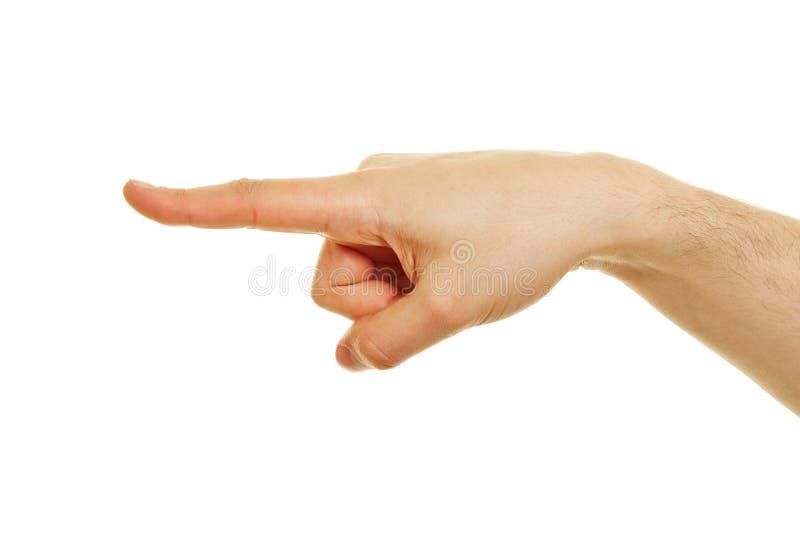 Ideia lateral da mão com apontar o indicador fotografia de stock royalty free