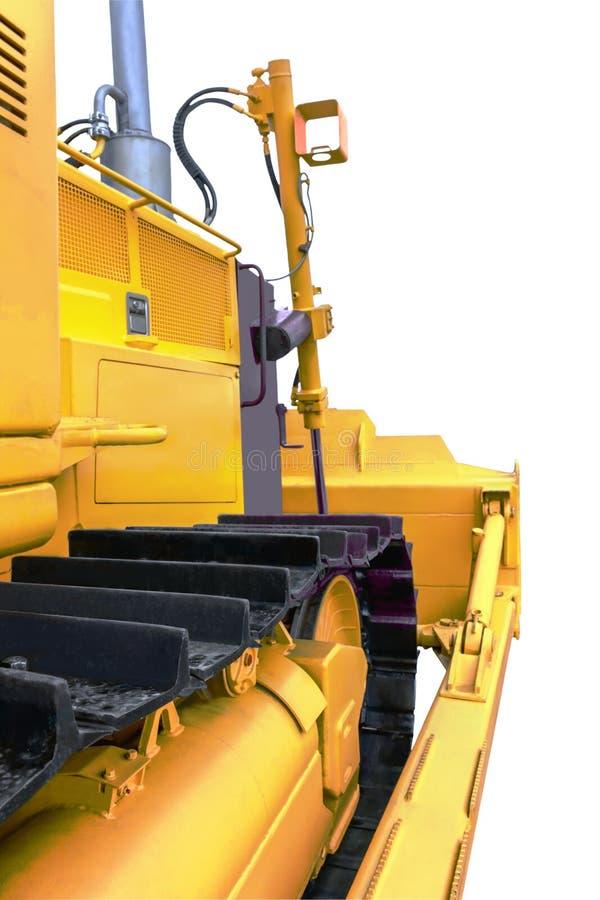 Ideia lateral da parte dianteira do close up da escavadora isolado no fundo branco imagem de stock