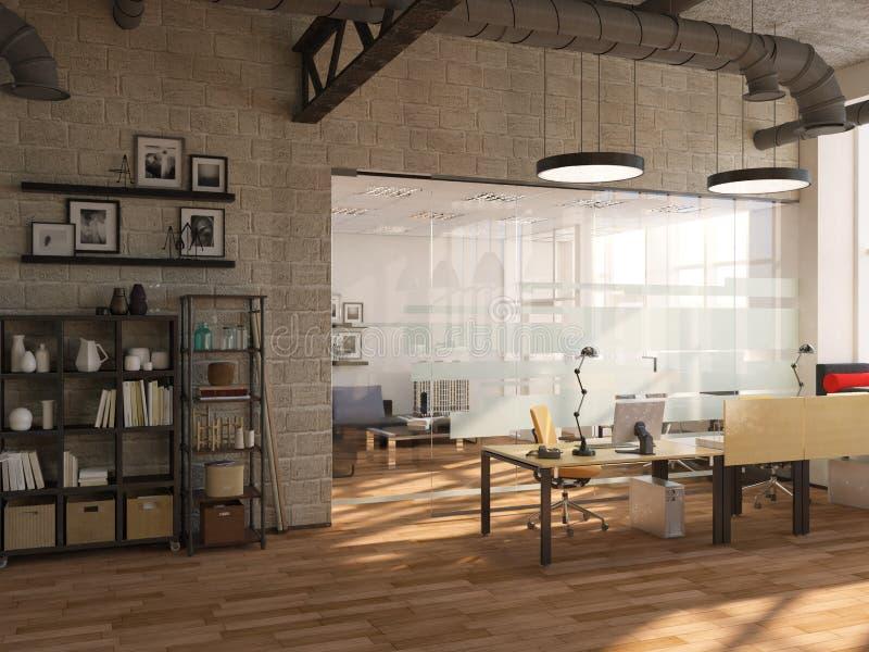Ideia lateral da sala de conferências contemporânea com opinião e luz do dia da cidade rendição 3d imagem de stock