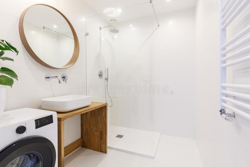 Ideia lateral de um interior moderno do banheiro com um chuveiro, basi da lavagem fotografia de stock royalty free