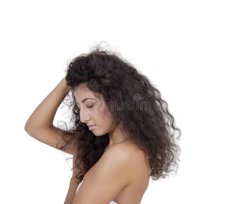 Ideia lateral de um modelo de forma fêmea novo fotografia de stock royalty free