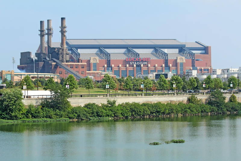 Ideia lateral do estádio do petróleo de Lucas em Indianapolis fotos de stock