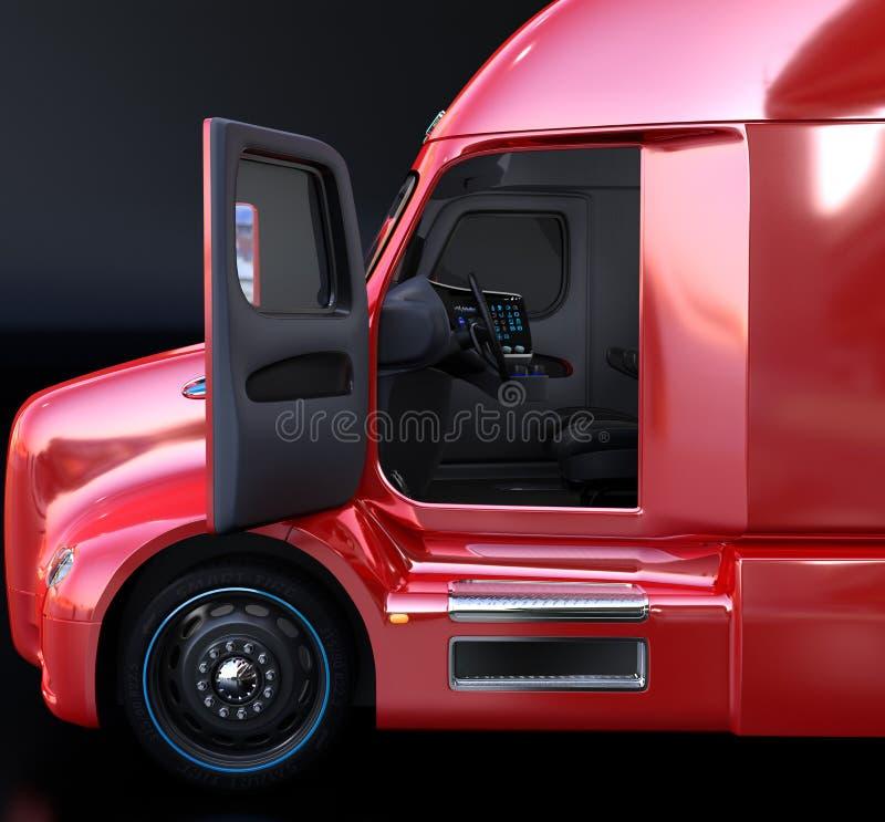 Ideia lateral do interior autônomo do caminhão com assentos pretos ilustração do vetor