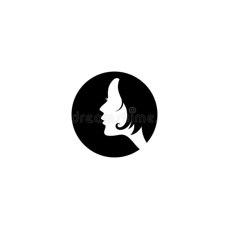 Ideia lateral do logotipo da cara da mulher ilustração stock