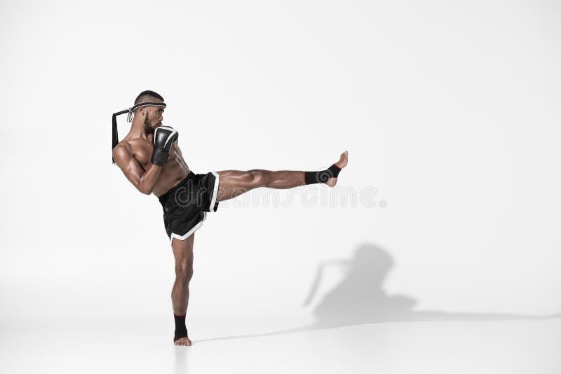 Ideia lateral do treinamento tailandês muay do lutador isolado no branco foto de stock