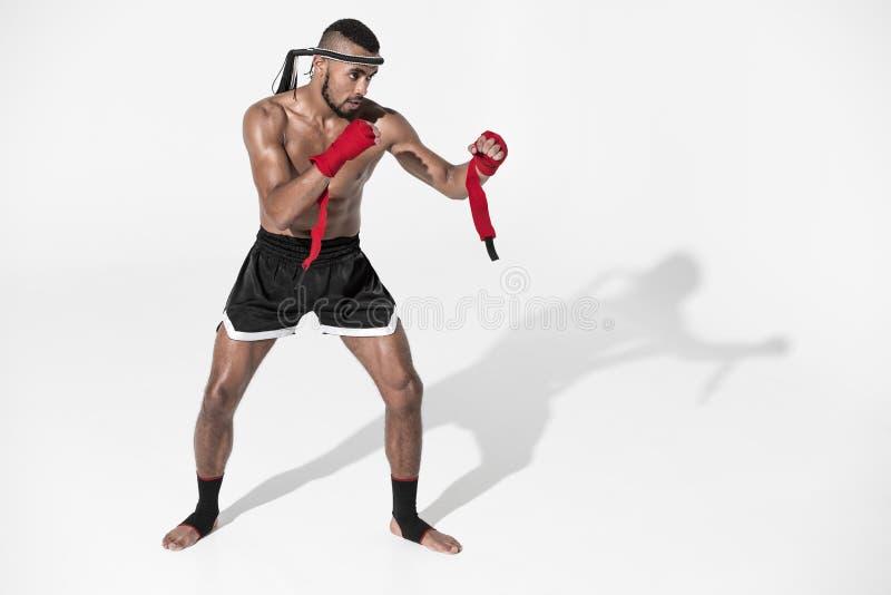 Ideia lateral do treinamento tailandês muay do lutador isolado no branco imagem de stock royalty free