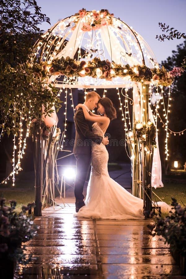 Ideia lateral dos pares elegantes que abraçam no miradouro iluminado na noite fotografia de stock
