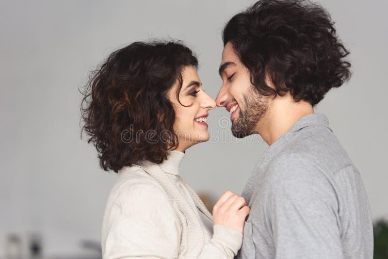 ideia lateral dos pares novos de sorriso que tocam com narizes fotos de stock
