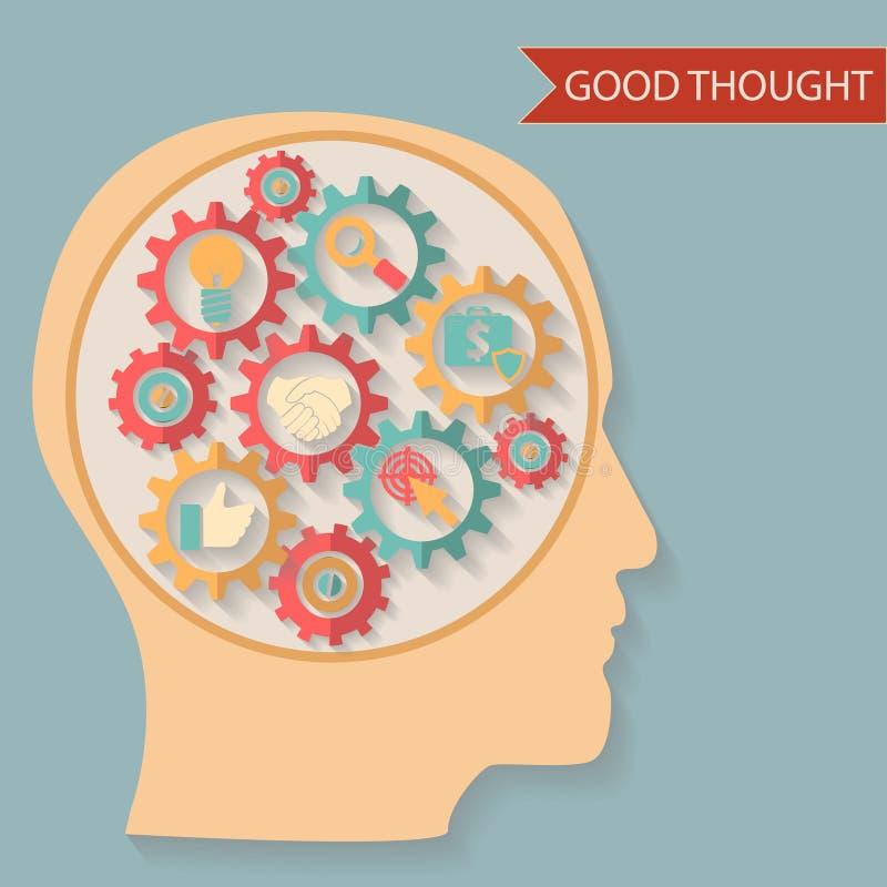 Ideia lisa do pensamento da cabeça do homem de negócios do estilo do projeto ilustração do vetor