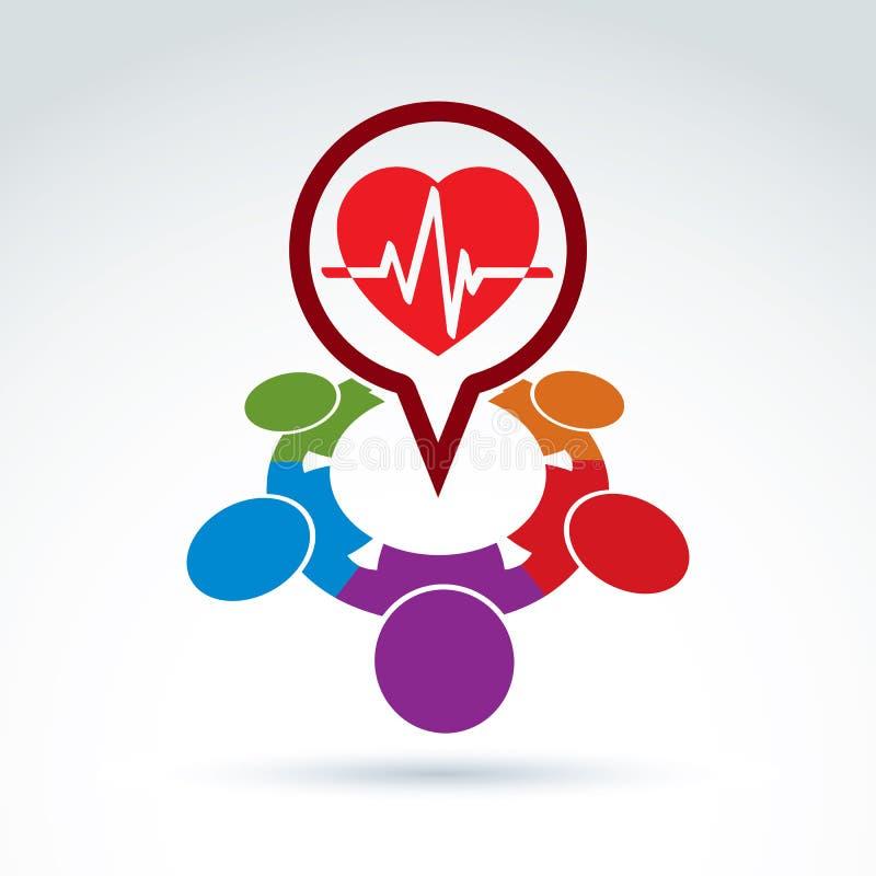 Ideia médica da cardiologia, batimento cardíaco do cardiograma ilustração royalty free