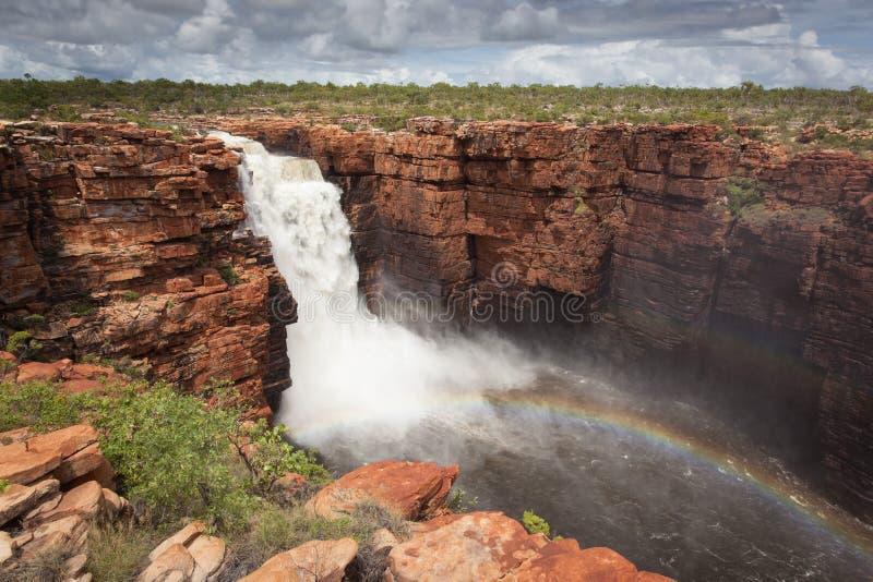 Ideia mais larga da queda westernmost no rei George River, Kimberley, Austrália foto de stock royalty free