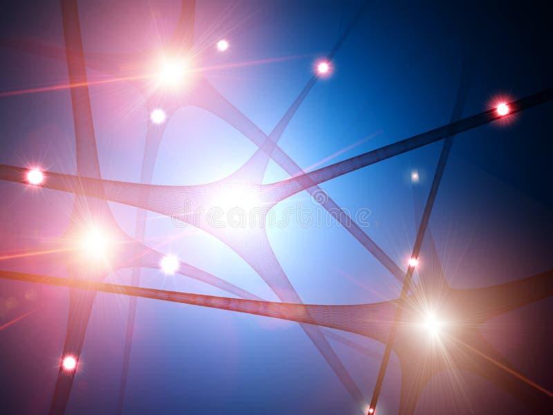 Ideia microscópica das sinapses Conex?es do c?rebro Neurônios e sinapses Uma comunicação e estímulo cerebral ilustração do vetor